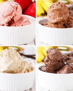 """Banana """"Ice Cream"""" 4 Ways-- Have A Guilt-Free Treat With These Banana """"Ice Cream"""" Recipes Frozen Desserts, Frozen Treats, Healthy Desserts, Delicious Desserts, Dessert Recipes, Yummy Food, Frozen Banana Recipes, Healthy Meals, Ice Cream 4"""
