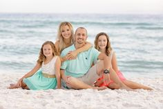 This is one of my favorite sessions ever! Destin didn't disappoint tonight! Everything this night was perfect! The sky, the water, the clients! I love the aqua and coral colors, so pretty on the beach! These girls were so easy to work with! Family Beach Poses, Family Beach Pictures, Beach Photos, Family Posing, Family Pics, Family Portrait Poses, Family Beach Portraits, Family Portrait Photography, Beach Photography Poses