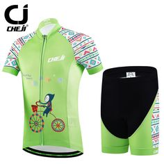 Hot CHEJI Children Bike Jersey Shorts Sets Green Riding Team Bicycle ciclismo Cycling Clothing  Boys mtb Shirts Cyc Top Suits