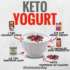 KETO YOGURT Here is a delicious recipe for Keto Yogurt by @ruledme . CALORIES/MACROS Per 1/2 Cup Serving, 315 Calories, 32g Fats, 4g Net…