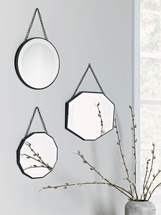 With three different shapes, our collection of three bevelled mirrors will add a touch of eclectic style to your wall. Display all together to make a statement, or hang in different rooms to carry a vintage theme throughout your home. Small Wall Mirrors, Vintage Mirrors, Living Room Mirrors, 1930s Mirrors, Hanging Mirrors, Hanging Frames, Hallway Mirror, Mirror Hooks, Houses