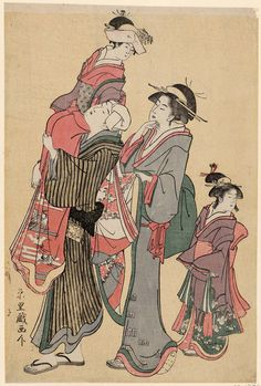 Going to the Shrine for the Obitoki Ceremony at the Shichigosan Festival  七五三の宮参り、御帯解きの儀 Japanese Edo period about 1788–90 (Tenmei 8–Kansei 2) Artist Rekisentei Eiri (Japanese, active about 1781–1818)