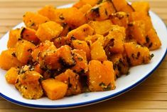Recipe for Roasted Butternut Squash with Lemon, Thyme, and Parmesan; this is something I'd happily eat once a week when squash is in season.  [from Kalyn's Kitchen] #LowGlycemicRecipe