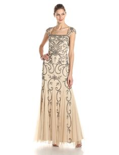 Adrianna Papell Womens Illusion Sleeve Long Shutter Tuck Gown