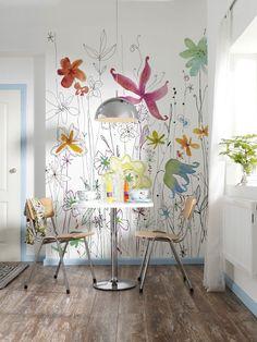 Floral eclectic fun mural wallpaper Komar 72 in. H x 98 in. W Joli Wall Mural Poster Mural, Botanical Wallpaper, Flower Wall Decor, Wall Painting Flowers, Flower Mural, Abstract Styles, Floral Wall, Cool Wallpaper, Foyer Wallpaper