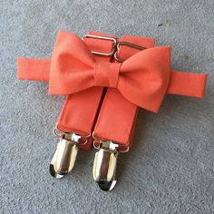 Orange/Coral Bow Tie and Suspender Set in sizes for babies, toddlers, boys, and men. by LittleBrotique on Etsy https://www.etsy.com/listing/233850716/orangecoral-bow-tie-and-suspender-set-in