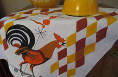 Vintage Cotton Kitchen Towel - Orange Brown Rooster with harlequin design 1970s.