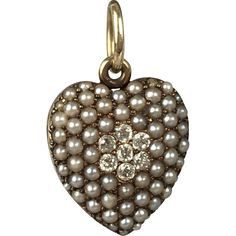 #VintageBeginsHere at www.rubylane.com @rubylanecom -- Romantic 14K Edwardian Diamond and Pearl Heart Locket Pendant