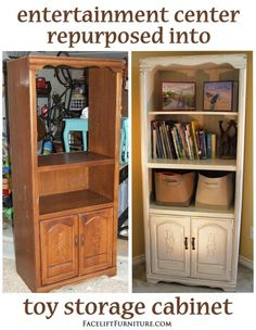 Entertainment Center Repurposed into Toy Storage Cabinet – Before & After from F… Entertainment Center converted into toy cabinet – Before & After by Facelift Furniture Entertainment Center Makeover, Diy Entertainment Center, Entertainment Weekly, Entertainment Furniture, Modern Tv Cabinet, Media Cabinet, Cubes, Diy Tv, Repurposed Furniture