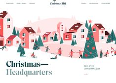christmas-hq-home-page-dribbble.jpg by Alex Dixon Christmas Design, Christmas Holidays, Christmas Patterns, Christmas Wrapping, Xmas, Christmas Tree, Website Illustration, New Year Designs, Natal