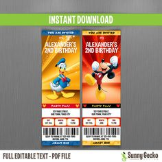 disney mickey mouse and donald birthday ticket invitations instant download and edit with adobe reader