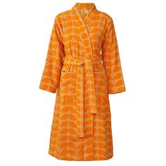 Orla Kiely bathrobe with Stem Jacquard design in orange