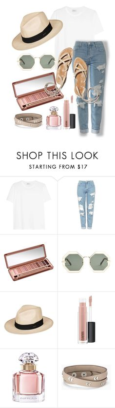 """{Neutral} Day Out"" by rissarenee37 ❤ liked on Polyvore featuring Yves Saint Laurent, Topshop, Urban Decay, Karen Walker, Roxy, MAC Cosmetics, Guerlain and Stella & Dot"