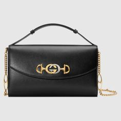 de12d0f7d Gucci Zumi smooth leather small shoulder bag in Black smooth leather | Gucci  Women's Chain Bags