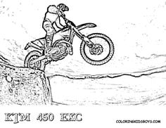 dirt bike coloring sheets of ktm 450 exc - Dirt Bike Coloring Pages Print