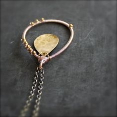 Pink Rose Gold Brass Pendant Necklace Beaded Teardrop by balanced $64