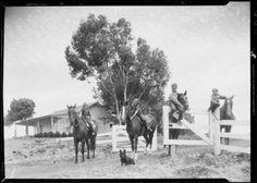 1935 Palos Verdes Rancho kids riding horses.