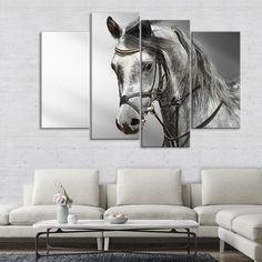 ELEGANT BLACK HORSE GALLOPING CASCADE CANVAS WALL ART PRINT READY TO HANG