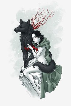 Witch and Wolf by aleksandracupcake on deviantART
