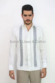 da27330353 Hand Embroidered White Irish Linen Guayabera