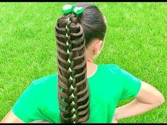 Best First Communion Hairstyles / Four Strand Braid Tieback / Bonita Hair Do Braided Hairstyles For School, Girly Hairstyles, Cute Little Girl Hairstyles, Fishtail Braid Hairstyles, Little Girl Braids, Braided Hairstyles Tutorials, Braids For Kids, Easy Hairstyles, Braid Ponytail