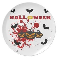 Evil pumpkin Halloween Melamine Plate - halloween decor diy cyo personalize unique party