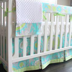 Ocean Blue Bumperless Crib Rail baby bedding by babymilanbedding, $230.00