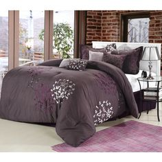 @Overstock.com - Cheila Plum 8-piece Comforter Set  - Upgrade your bedding with this eight-piece comforter set. This set includes one large comforter, two shams, and four pillows. Featuring woven fabric detailing and embroidered motifs, this set is sure to complement the decor of any bedroom.   http://www.overstock.com/Bedding-Bath/Cheila-Plum-8-piece-Comforter-Set/6804021/product.html?CID=214117 $99.99