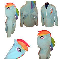 Rainbow Dash Zip Up Hoodie by aprikotDIY on Etsy, $100.00
