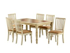 1234 7 pc. traditional dining set with upholstered chairs and multicolored tile tabletop.