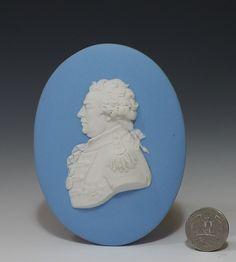 19th C Wedgwood Solid Blue Jasper Oval Portrait Medallion of Admiral Duncan