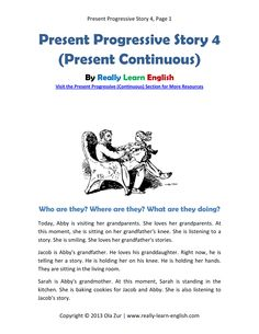 English ESL story in the Present Progressive Tense - Printable story, worksheets, and answer key