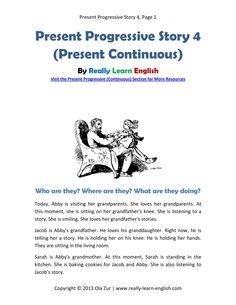 English ESL story in the Present Progressive Tense - Printable story…