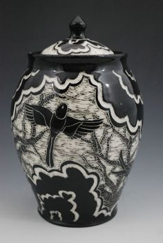 Blackbirds in our Trees: large jar  Rebecca A. Grant