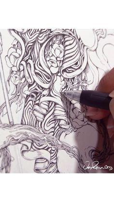 Ink Drawing Process - Scorpio