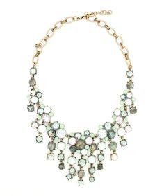 Gold & Gray Cascade Bib Necklace