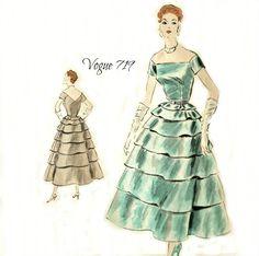 Vogue 719 Couturier Design 1950s Dress Pattern Bias by Abbysfabric