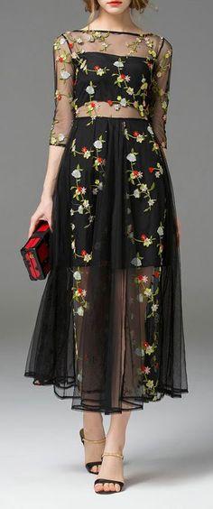 floral embroidered sheer black  dress