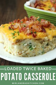 This Loaded Twice Baked Potatoes Casserole is delicious, easy to make, and full of bacon. Try my secret trick for amazing texture! This is a tasty main dish but also a great side dish. It is perfect for Easter and other holiday meals! #potatoes #sidedish #holidayfood #loaded #bacon Loaded Baked Potato Casserole, Loaded Baked Potatoes, Casserole Recipes, Leftover Baked Potatoes, Good Food, Yummy Food, Delicious Recipes, Easy Recipes, Holiday Recipes