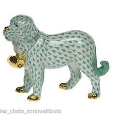 HEREND, ST. BERNARD DOG WITH PUNCHEON PORCELAIN FIGURINE, GREEN, FLAWLESS, $505