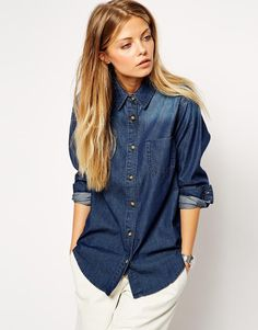 $40, Navy Denim Shirt: Asos Collection Denim Shirt In Dark Wash. Sold by Asos. Click for more info: http://lookastic.com/women/shop_items/173790/redirect
