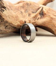 Titanium and Hawaiian Kou Wood Ring