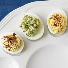 Deviled Eggs with Cilantro, Jalapenos, and Curry from chef Suvir Saran