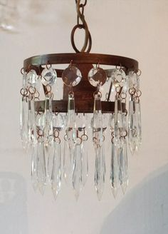 lampara colgante iluminacion vintage oxido hierro caireles