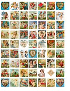 digital download of 63 one inch by one inch Valentine vignettes...$3.50