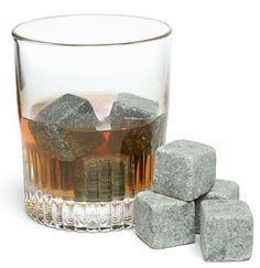 Gifts for Him: Whiskey Stones (Set of 9) @ Think Geek. Type whiskey stone in your search engine to find. Can also be used for hot drinks.