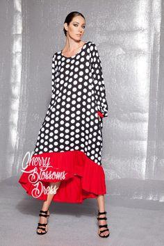 Polka dot dress/ Summer maxi dress/ Plus size maxi dress/ Long dresses red sleeves Polka Dot Summer Dress, Dress Plus Size, Plus Size Maxi Dresses, Trendy Dresses, Women's Dresses, Plus Size Outfits, Casual Dresses, Flowing Dresses, Polka Dot Summer Dresses, Maxi Robes