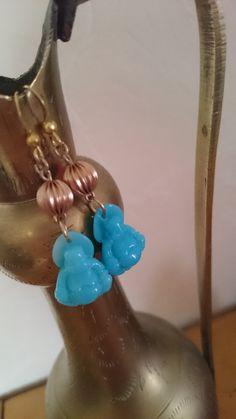 CADEAU ORIGINAL BOUCLES D'OREILLES les petits bouddhas turquoises : Boucles d'oreille par la-fabrique-des-elfes