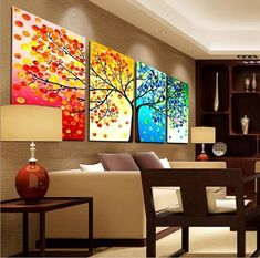 OR OR 2017 Four Seasons Tree Wall Canvas Painting Art Decoration Picture Prints Oil Painting for Home Living Room Wedding Decration No Frame Mom Dad Friends Lover Gifts Women Panel Wall Art, Wall Art Sets, Canvas Wall Art, Wall Art Prints, Canvas Prints, Unique Wall Decor, Home Wall Decor, Art Decor, Diy Decoration