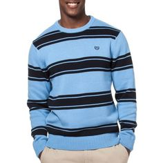 Chaps Golf Blue Striped Crew Neck Sweater ($36) ❤ liked on Polyvore featuring men's fashion, men's clothing, men's sweaters, golf blue, mens ribbed sweater, mens crewneck sweaters, mens short sleeve sweater, mens crew neck sweaters and mens striped sweater